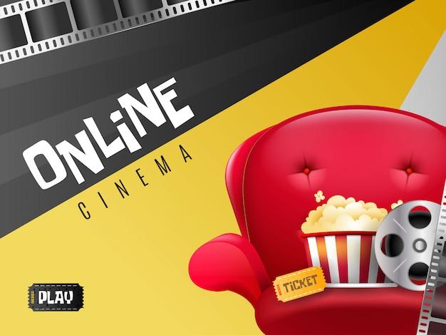Sfondo di home movie con sedile, popcorn e altro