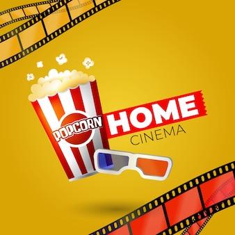 Film domestico con popcorn e bicchieri