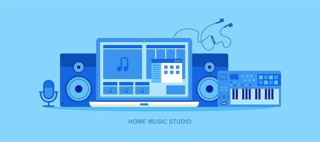 Home music studio produzione musicale e registrazione illustrazione vettoriale produttore musicista compositore