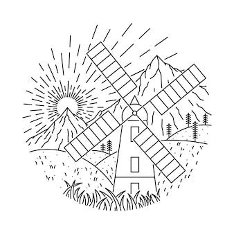 Illustrazione al tratto selvaggio della montagna domestica della natura