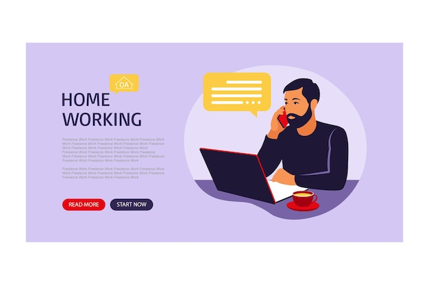 Concetto di ufficio a casa, uomo africano che lavora da casa. pagina di destinazione per il web. freelance o concetto di studio. illustrazione vettoriale. stile piatto.