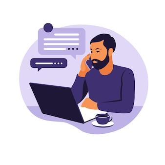 Concetto di home office, uomo che lavora da casa. studente o libero professionista. freelance o studio del concetto. illustrazione vettoriale. stile piatto.