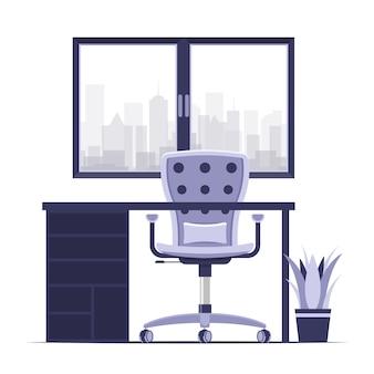 Scrivania da casa o in ufficio con sedia illustrazione vettoriale moderno di colore piatto stile Vettore Premium