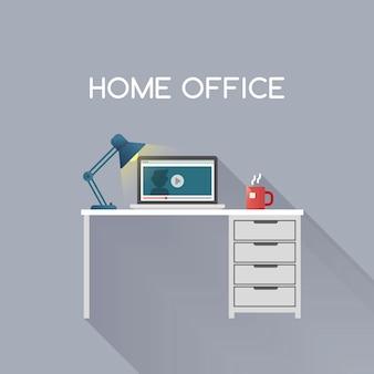 Ufficio a casa, illustrazione vettoriale desktop