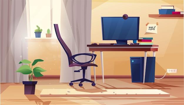Interno del ministero degli interni in stile cartone animato. sala con tavolo, computer, sedia, piante in vaso, finestra.