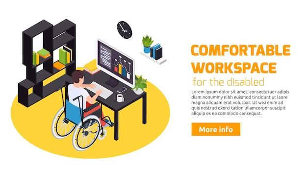 Home office per persone con disabilità confortevole area di lavoro con banner web scrivania accessibile in sedia a rotelle