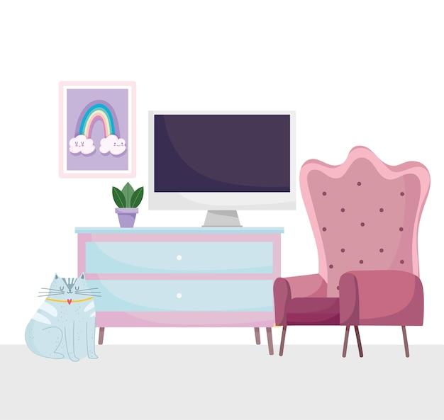 Home office posto di lavoro sedia computer cassetti pianta e gatto seduto illustrazione