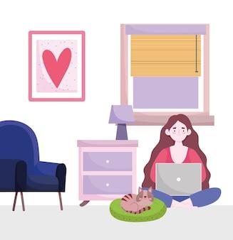 Area di lavoro del ministero degli interni, personaggio dei cartoni animati che lavora con il computer portatile in camera con lampada sedia e gatto.