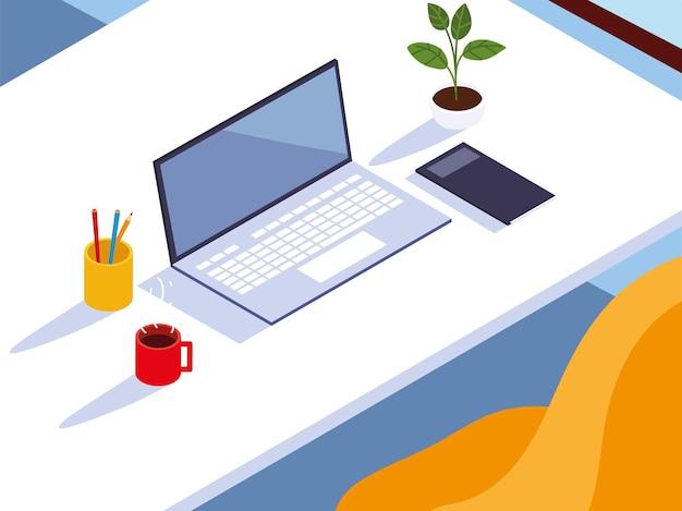 Illustrazione del taccuino e della tazza di caffè della sedia del computer della scrivania dell'area di lavoro dell'ufficio domestico