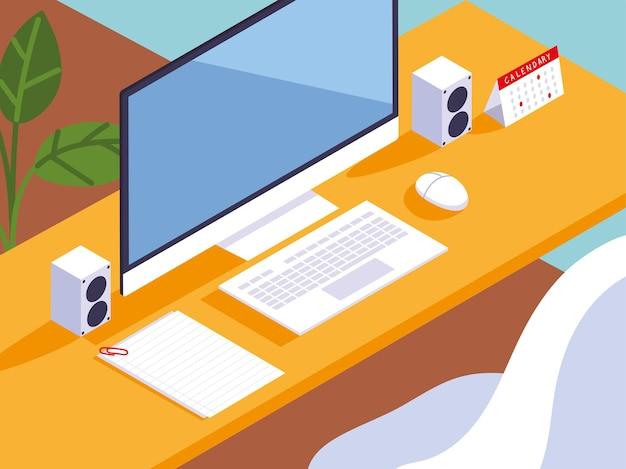Illustrazione dell'altoparlante e dei documenti del calendario della tastiera del computer della scrivania dello spazio di lavoro dell'ufficio domestico