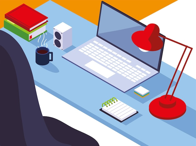 Illustrazione della tazza di caffè dei libri del blocchetto per appunti della lampada del computer portatile dello scrittorio dell'area di lavoro dell'ufficio domestico