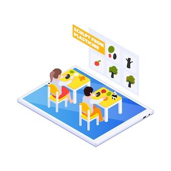 Illustrazione di educazione online domestica con bambini che scolpiscono dalla plastilina 3d
