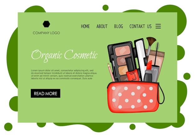 Modello di home page per azienda di bellezza con un set di cosmetici decorativi. stile cartone animato. illustrazione vettoriale.