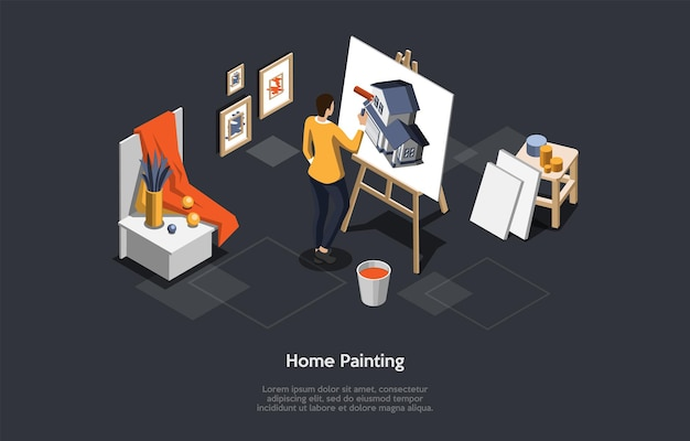 Illustrazione di vettore di concetto di pittura domestica su sfondo scuro con testo. composizione isometrica in stile cartoon 3d. processo di riparazione della casa, selezione del colore. designer che sceglie colorante per il nuovo edificio.