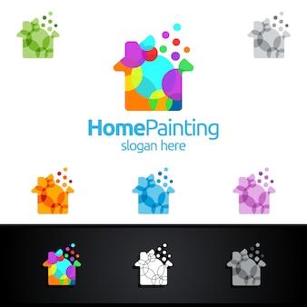 Logo di pittura domestica con bolla e concetto di casa