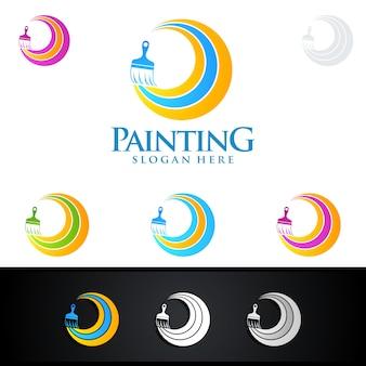 Logo di pittura domestica con pennello e concetto di cerchio colorato