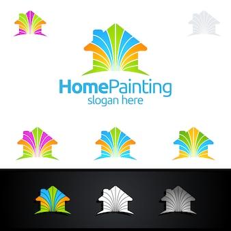 Logo di pittura domestica con pennello e concetto di casa
