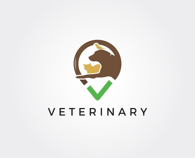 Casa animali domestici logo cane gatto disegno vettoriale modello lineare stile