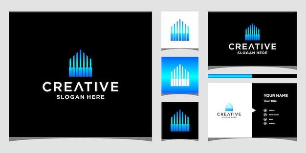 Design del logo del pianoforte domestico con modello di biglietti da visita
