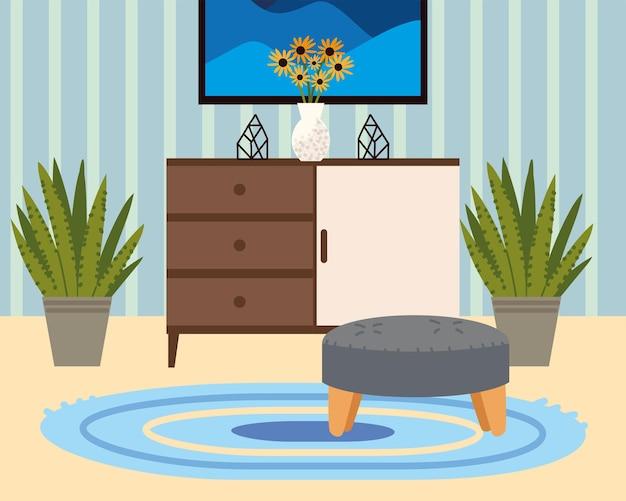 Immagine domestica con piante e moquette