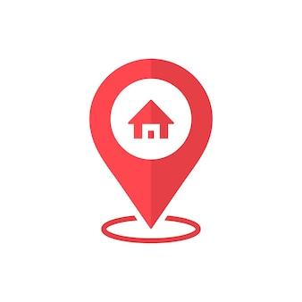 Icona mappa home pin. icona rossa della posizione di casa. eps vettoriale 10