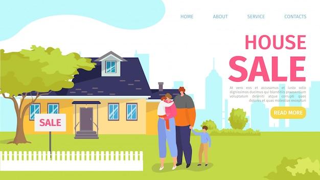 Vendita di proprietà per la casa, famiglia vicino all'illustrazione della costruzione della casa. acquisto immobiliare, con carattere di persone. pagina di destinazione aziendale di vendita residenziale, sito web.