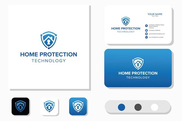 Protezione domestica tecnologia logo design e biglietto da visita