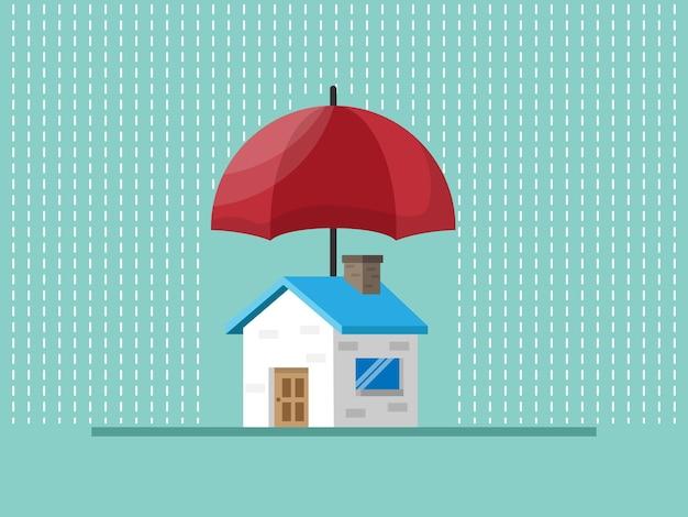 Protezione domestica con l'ombrello rosso, illustrazione di concetto di assicurazione sulla casa
