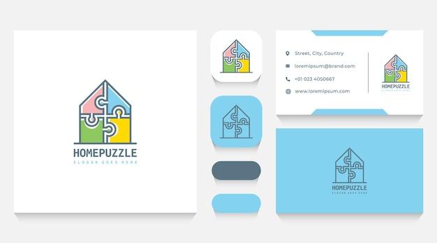 Modello di logo puzzle casa e biglietto da visita