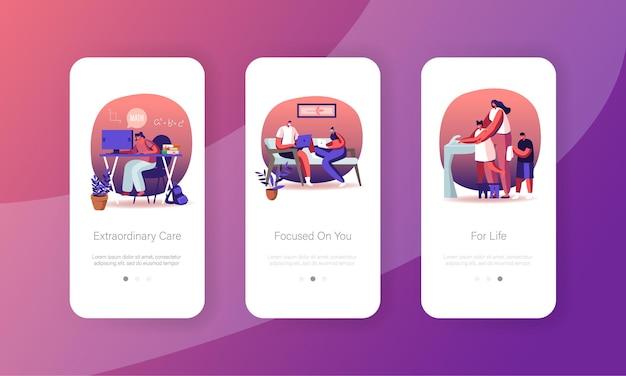 Set di modelli di schermata della pagina dell'app mobile di quarantena domestica