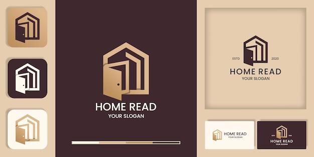 Home leggere il design del logo, il logo della biblioteca e il design dei biglietti da visita