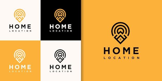 Progettazione di logo di posizione immobiliare casa.