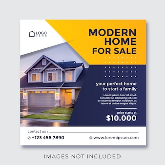 Banner quadrato di proprietà immobiliare per la casa per i social media