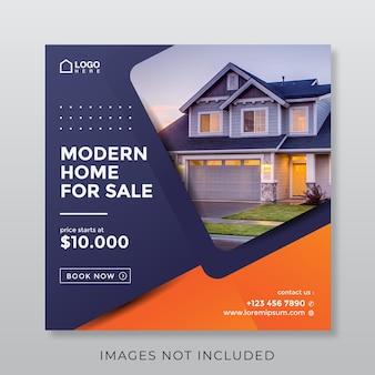 Banner quadrato di proprietà immobiliare per la casa per i social media Vettore Premium