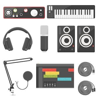 Apparecchiature di registrazione domestica per interfaccia audio di produzione musicale, tastiera midi, monitor per cuffie, microfono, altoparlante, cavo akai e xlr e forma d'onda audio digitale software.