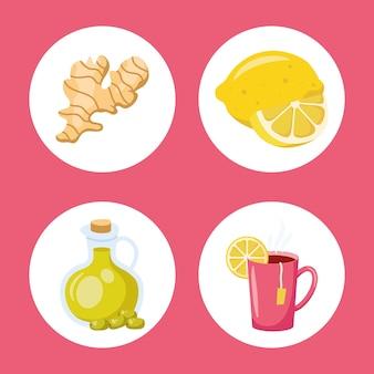 I rimedi casalinghi impostano quattro icone