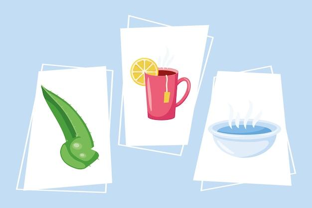 I rimedi casalinghi impostano tre icone