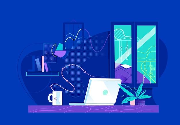 Luogo di lavoro remoto domestico con finestra, scrivania, laptop e tazza di caffè