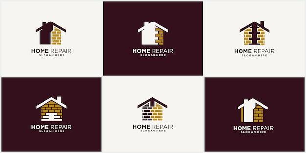 Ristrutturazione della casa riparazione della casa miglioramento della casa e design del logo del settore con display per biglietti da visita