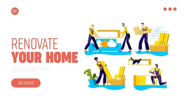 Pagina di destinazione dell'azienda di servizi di assemblaggio e ristrutturazione della casa, trasferimento, consegna di mobili Vettore Premium