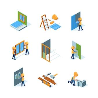 Ristrutturazione casa. l'installazione dell'operaio nuova pavimentazione e pareti che verniciano la pavimentazione costruiscono le illustrazioni isometriche degli strumenti
