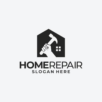 Riparazione della casa e modello di progettazione del logo del concetto di edificio
