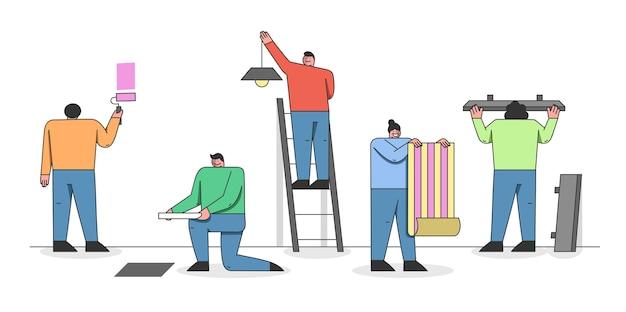 Concetto di riparazione domestica. l'uomo e la donna fanno una riparazione di una casa.