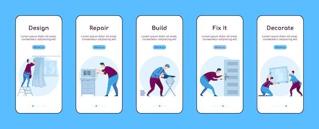 Modello piatto dello schermo dell'app mobile di onboarding per la riparazione domestica