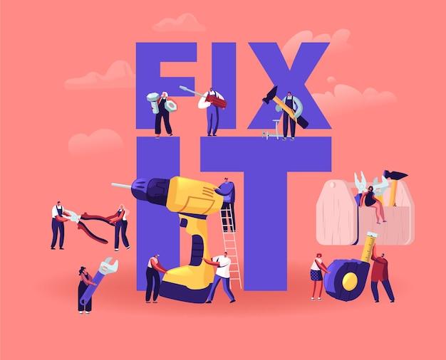 Concetto di riparazione e ristrutturazione della casa. cartoon illustrazione piatta