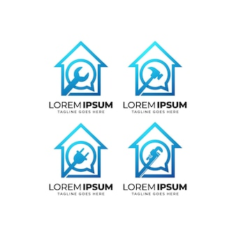 Collezione di design del logo del servizio di riparazione a domicilio