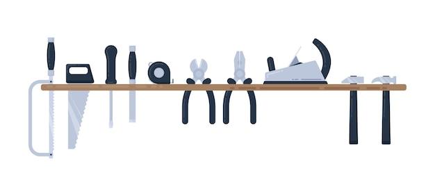 Insieme dell'illustrazione di vettore dello strumento di riparazione domestica. strumenti di falegnameria su uno scaffale. illustrazione vettoriale