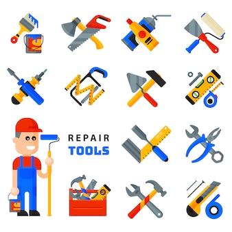 Icone domestiche degli strumenti di riparazione che lavorano l'insieme dell'attrezzatura per l'edilizia e assista lo stile piano dal carattere dell'uomo del carattere isolato su fondo bianco.