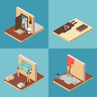 Concetto dell'operaio di riparazione domestica, insieme isometrico isolato
