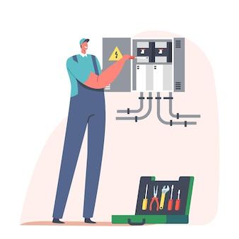 Riparazione della casa, incendio, energia e concetto di sicurezza elettrica. il personaggio dell'elettricista tuttofare esamina la bozza di lavoro
